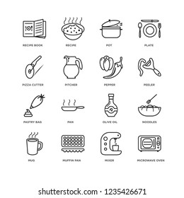 Set Of 16 Kitchen linear icons such as Microwave oven, Mixer, muffin pan, mug, Noodles, Recipe book, Pizza cutter, Pastry bag, Pepper, editable stroke icon pack, pixel perfect