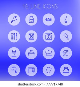 Set Of 16 Kitchen Outline Icons Set.Collection Of Omelette, Jug, Ladle And Other Elements.