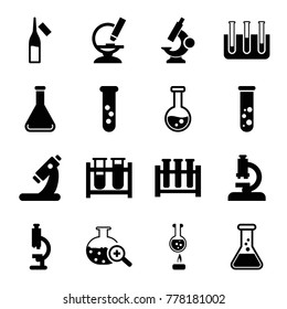 Set of 16 lab filled icons such as microscope, test tube, ampoule