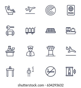 Set Of 16 Land Outline Icons Set.Collection Of Passport Controller, Taxi, Elevator And Other Elements.