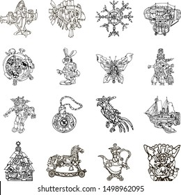 Set of 16 line art abstract fantasy vintage steampunk style toy icons featuring fictional machines and animals. Christmas tree toys set. Hand drawn elements.