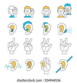 Set of 16 line icons for hearing problems. Collection of thin line vector icons for hearing loss, hard of hearing, deafness, hearing aids, hearing test, sign language etc.