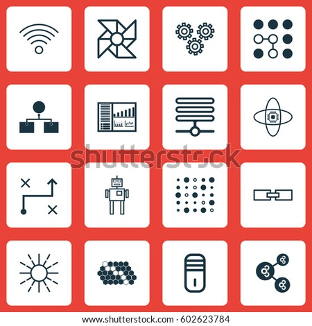 Set 16 Machine Learning Icons Includes Stock Vector Royalty Free