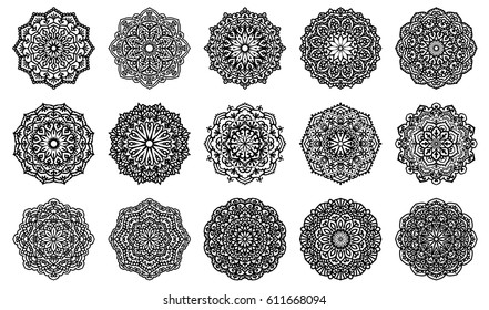 Set Of 16 Mandalas For Painting. Great for Antistress Coloring Book, Artmeditation. Vector Ethnic Oriental Circle Ornament. Design Elements