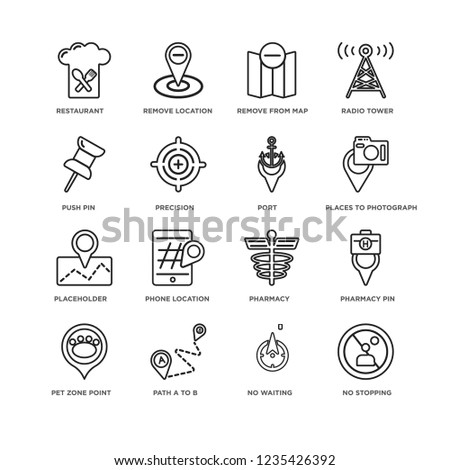 Set 16 Map Location Linear Icons เวกเตอร์สต็อก (ปลอดค่าลิขสิทธิ์