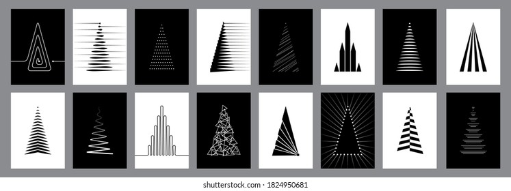 Set of 16 modern Christmas cards with abstract pine tree design in black and white