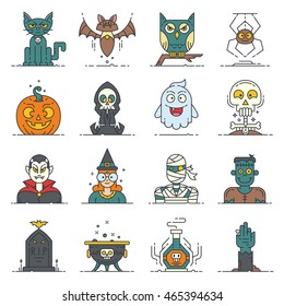 A set of 16 modern flat line style icons for Halloween. Contain cute characters and items: bat, cat, cauldron, death, ghost, hand, mummy, owl, potion, pumpkin, skull, spider, vampire, witch