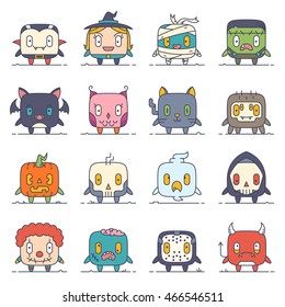 A set of 16 modern flat line style cute characters for Halloween: vampire, witch, monster, zombie, mummy, bat, cat, clown, death, devil, ghost, mask, owl, pumpkin, skull, spider.