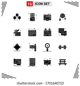 Set of 16 Modern UI Icons Symbols Signs for heart; gift; digital; plumbing; mechanical Editable Vector Design Elements