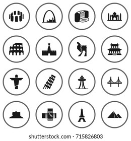 Set Of 16 Monument Icons Set.Collection Of Moscow, Paris, Great Pyramid And Other Elements.
