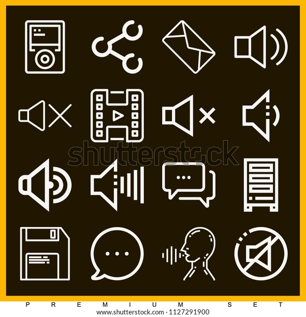 Set 16 Multimedia Outline Icons Such Stock Vector (Royalty Free