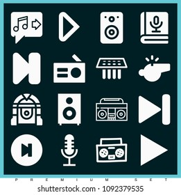 Set of 16 music filled icons such as play button, next track, player, end, book, message, single, medical samples, antique radio, jukebox, radio, stereo hand drawn audio tool