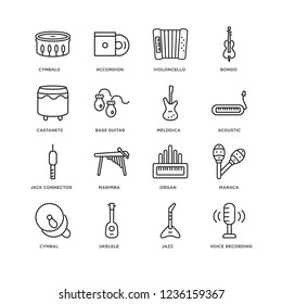 Set Of 16 music linear icons such as Voice recording, Jazz, Ukelele, Cymbal, Maraca, Cymbals, Castanets, Jack connector, Melodica, editable stroke icon pack, pixel perfect