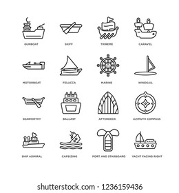 Set Of 16 nautical linear icons such as Yacht Facing Right, port and starboard, gunboat, ship Admiral, Azimuth compass, afterdeck, ballast, skiff, editable stroke icon pack, pixel perfect