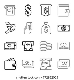 Set of 16 pay outline icons such as money on hand, atm money withdraw, dollar, credit card, wallet, dollar sign