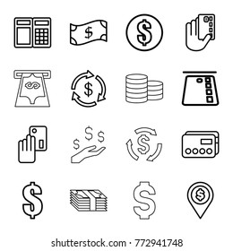 Set of 16 payment outline icons such as money, money, dollar, credit card, creadit card payment, atm, crown