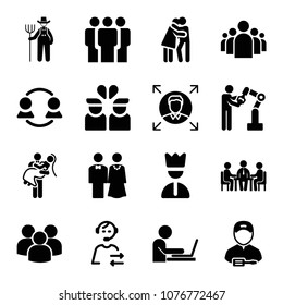 Set of 16 people filled icons such as multiple users silhouette, group of people in a formation, man working on a laptop from side view, farmer, business meeting, group