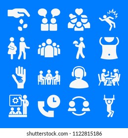 Set of 16 people filled icons such as group of people in a formation, chil hand on the hand of an adult, trapeze, business meeting, chat, business people meeting, teamwork