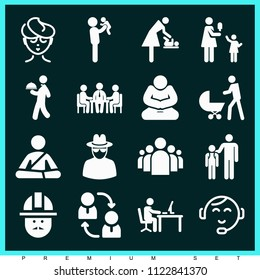 Set of 16 people filled icons such as group of people in a formation, spy, business meeting, mother, teamwork, restaurant service, engineer, father lifting his baby, kids