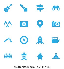 Set Of 16 Picnic Icons Set.Collection Of Kettle, Acoustic, Flashlight And Other Elements.