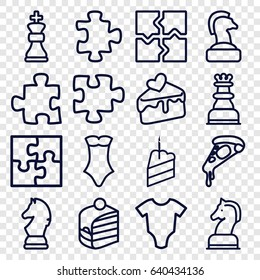 set of 16 piece outline icons such as baby onesie, puzzle, swimsuit, pizza, piece of cake, cake slice, horse chess, chess king