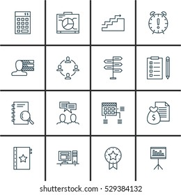 Set Of 16 Project Management Icons. Can Be Used For Web, Mobile, UI And Infographic Design. Includes Project Management Elements Such As Growth, Opportunity, Presentation And More.