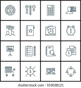 Set Of 16 Project Management Icons. Includes Analysis, Presentation, Schedule And Other Symbols. Beautiful Design Elements.