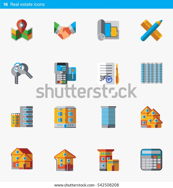Set of 16 real estate vector flat icons in flat style