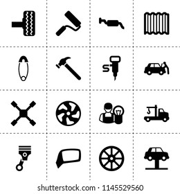 Set of 16 repair filled icons such as whell, alloy wheel, tire, tow truck, car lift, wheel wrench, piston, muffler, car repair, roof, hammer, paint roller, safety pin
