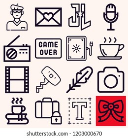 Set of 16 retro outline icons such as font, artist, lightbox, game over, luggage, justice league, coffee, camera, quill, film, bow tie, corkscrew, radio, microphone