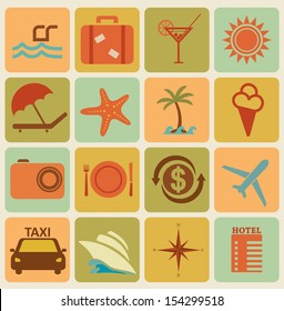 Set of 16 retro travel icons