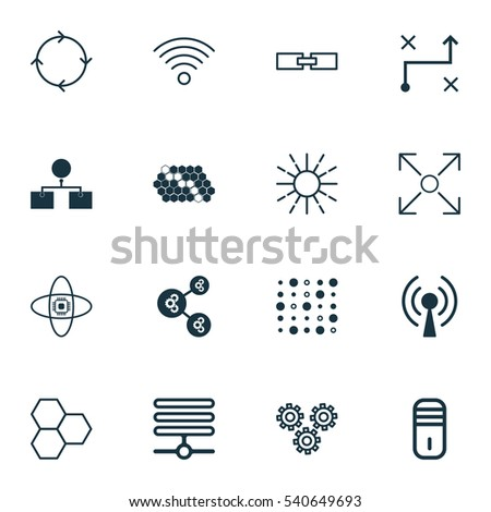 Set 16 Robotics Icons Includes Lightness Stock Vector Royalty Free