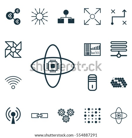 Set 16 Robotics Icons Includes Controlling Stock Vector Royalty