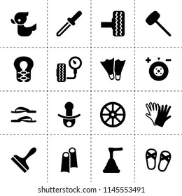 Set of 16 rubber filled icons such as whell, wheel balance, tire, scraper, gloves, plunger, tire pressure, duck, pacifier, rubber hummer, pipette, life jacket, flippers