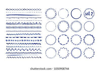 Set of 16 seamless handdrawn watercolor brushes and frames with different patterns. Vector illustration.