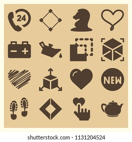 Set of 16 shapes filled icons such as rhombus, abstract, vintage teapot, graffiti heart shape, chess horse, 24 hours support, oil, battery, footprints, like