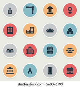 Set Of 16 Simple Architecture Icons. Can Be Found Such Elements As Block, Length, Shelter And Other.
