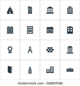 Set Of 16 Simple Architecture Icons. Can Be Found Such Elements As Block, Flat, Floor And Other.