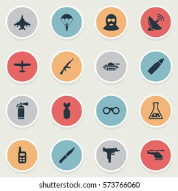 Set Of 16 Simple Army Icons. Can Be Found Such Elements As Sky Force, Chemistry, Paratrooper And Other.