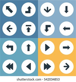 Set Of 16 Simple Arrows Icons. Can Be Found Such Elements As Right Direction, Reduction, Upward Direction And Other.