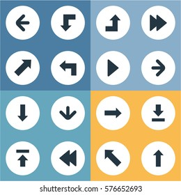 Set Of 16 Simple Arrows Icons. Can Be Found Such Elements As Pointer , Right Landmark, Right Direction.