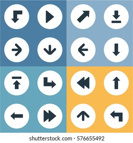 Set Of 16 Simple Arrows Icons. Can Be Found Such Elements As Transfer, Reduction, Pointer And Other.