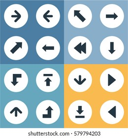 Set Of 16 Simple Arrows Icons. Can Be Found Such Elements As Right Direction, Indicator, Let Down And Other.