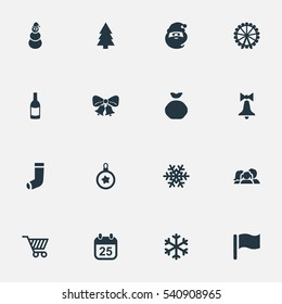 Set Of 16 Simple Celebration Icons. Can Be Found Such Elements As Basket, Relatives, Calendar And Other.
