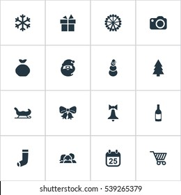 Set Of 16 Simple Christmas Icons. Can Be Found Such Elements As Christmas Decoration, Relatives, Calendar And Other.