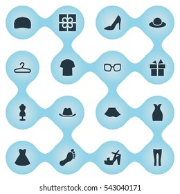 Set Of 16 Simple Clothes Icons. Can Be Found Such Elements As Footwear, Man Clothing, Head Accessory And Other.