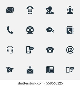 Set Of 16 Simple Connect Icons. Can Be Found Such Elements As Earphone, Telephone Switchboard, New-Come Letter And Other.