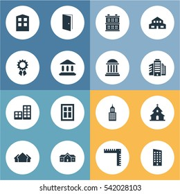 Set Of 16 Simple Construction Icons. Can Be Found Such Elements As Structure, Block, Length And Other.