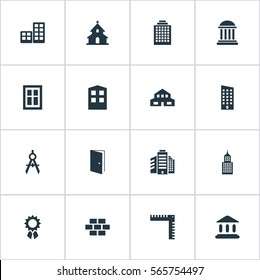 Set Of 16 Simple Construction Icons. Can Be Found Such Elements As Stone, Residential, Gate And Other.