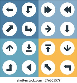 Set Of 16 Simple Cursor Icons. Can Be Found Such Elements As Transfer, Left Landmark , Right Direction.